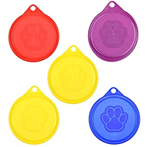 COSMOS Pack of 5 Pet Cat Dog Food Storage Can Covers Lids, Random Color 7