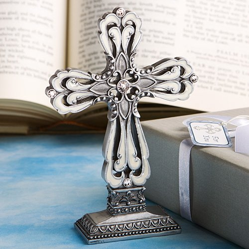 3.5 Inch Pewter Statue - 96 Pewter Color Cross Statue with Ivory Enamel Inlay