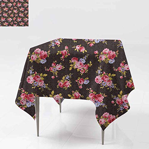- SONGDAYONE Stylish Square Tablecloth Rose Pattern with Old Fashioned Corsage and Bouquets Antique Feminine Floral Inspired Grace Waterproof Multicolor W50 xL50