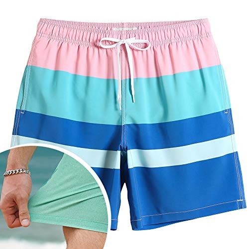 (MaaMgic Mens Running Swimming Shorts with Mesh Lining Trunks 4 Way Stretchy Shorts with Pocket)