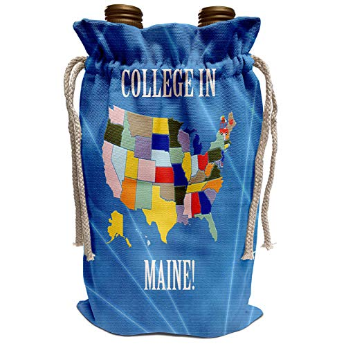 3dRose Beverly Turner College in - United States Map, College in Maine, Heart and Car with Luggage - Wine Bag (wbg_218320_1) (Best Colleges In Maine)