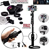Ceuta Retails, 1288 Selfie Stick with 3-in-1 Fish Eye and Wide Angle and Macro Clip Lens Kit for Other All Smartphone