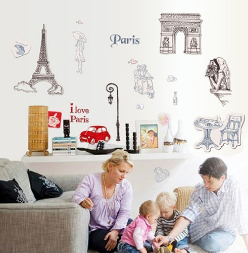 OneHouse I Love Paris Quote Eiffel Tower Red Car The Louvre Museum DIY Wall Decal Home Decor (Louvre Tower Eiffel)