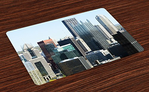 Lunarable USA Place Mats Set of 4, American Architecture Pittsburgh PA Skyline Pennsylvania Modern Cityscape, Washable Fabric Placemats for Dining Room Kitchen Table Decoration, Grey Silver Pale Blue