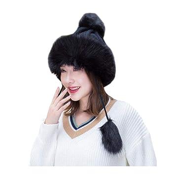 b58ead7483e98 CJC Sombreros Mongol Invierno Mujer Ruso Cosaco Pompón Unisexo Trampero  Gorra (Color   Negro