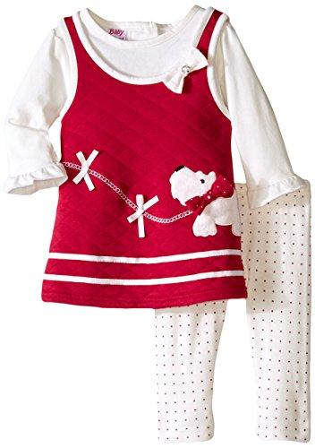 Scottie Dog Jumper Dress - Blueberi Boulevard Baby Girls' Scottie Dog Quilted Jumper Set, Red, 3-6 Months