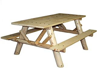 product image for Lakeland Mills CFU232 Cedar Log 6-Foot Picnic Table with Attached Benches, Natural
