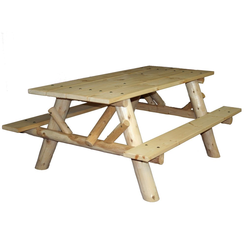 Amazon.com : Lakeland Mills CFU232 Cedar Log 6 Foot Picnic Table With  Attached Benches, Natural : Garden U0026 Outdoor