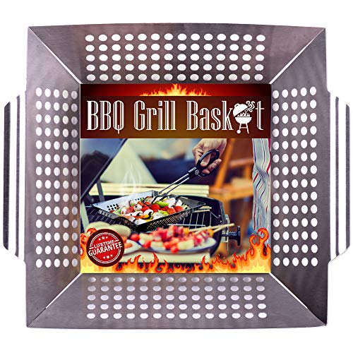 - Grill Basket Wok Topper Pan Smoker for Grilling Barbecue Vegetables Fish Stir Fry Seafood Kabob Pizza or Veggies 100% Heavy Duty Stainless Steel BBQ Camping Cookware Charcoal Gas Outdoor Accessories