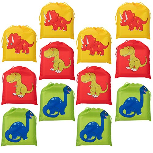 Drawstring Bags - 12-Pack Party Favor Bags for Kids Dinosaur Birthday, 3 Assorted Designs, Goodie Treat Bags, Dino Themed Party Supplies, For Giveaways and Gifts, Green, Red, Yellow, 9.7 x 12 Inches