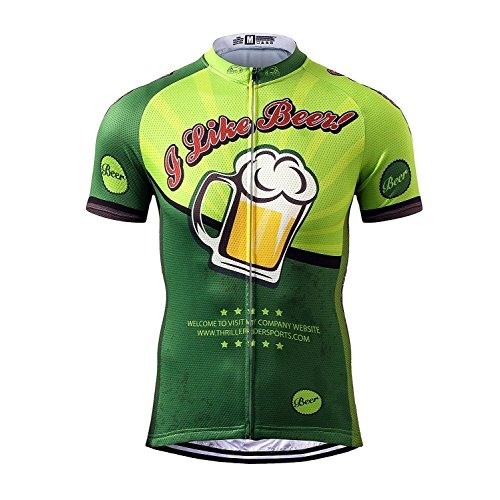 Thriller Rider Sports Mens I Like Beer Mountain Bike Short Sleeve Cycling Jersey Bike Tshirt (Beer Jersey)