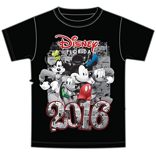 Disney Adult 2016 Dated Four Fun Goofy Pluto Mickey Donald Tee, Black