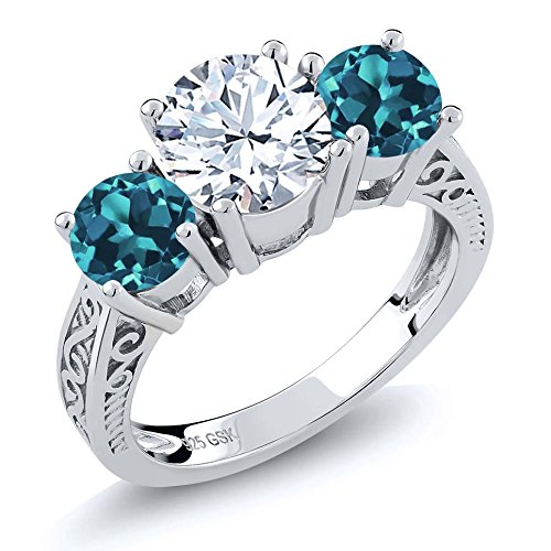 925 Sterling Silver White and London Blue Topaz Gemstone Birthstone 3-Stone Ring 2.40 Ct (Available 5,6,7,8,9)