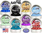 Crazy Aaron's Thinking Putty Mini Tins Solid Colors (Ultimate 8) Gift Set Bundle Featuring Electric, Primary & Metallic - 8 Pack (.47 oz Each)