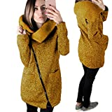 Gillberry Womens Casual Hooded Jacket Coat Long Zipper Sweatshirt Outwear Tops (Yellow, XL)