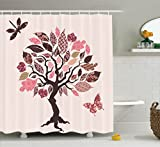 Brown Pink Shower Curtain Ambesonne Country Decor Collection, Authentic Tree with Embellished Ethnic Patch Leaves and Dwelling Haven Property Artwork, Polyester Fabric Bathroom Shower Curtain Set with Hooks, Pink Brown