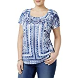 Style & Co. Womens Plus Printed Embellished Casual Top Blue 3X
