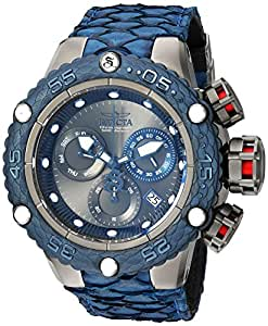 Invicta Men's 'Subaqua' Quartz Stainless Steel and Leather Casual Watch, Color:Blue (Model: 25069)