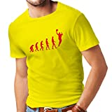 T shirts for men Evolution Basketball - street basket, cool gift (X-Large Yellow Red)