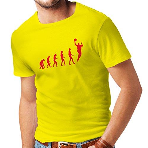 lepni.me T Shirts For Men Evolution Basketball - Street Basket, Cool Gift (Large Yellow Red)