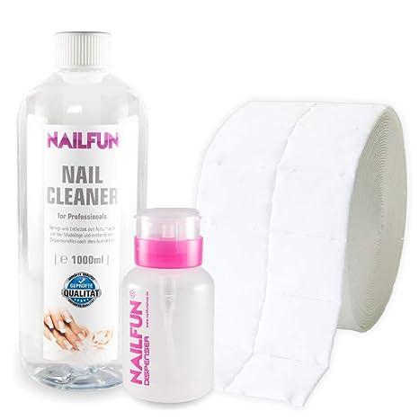 NAILFUN Pack Limpiador para Uñas 1000 ml + 1 Rollo de Toallitas + 1 Botella Vacía