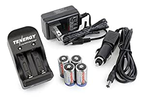 Tenergy 4 Pcs RCR123A 3.0V 600mAh Rechargeable Li-Ion Protected Batteries w/ Smart Charger