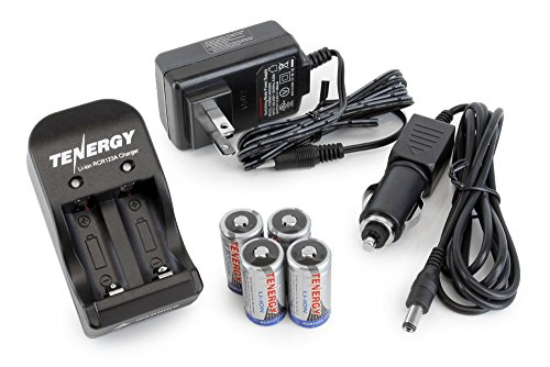 Tenergy 4 Pcs RCR123A 3.0V 600mAh Rechargeable Li-Ion Protected Batteries w/Smart Charger(Not for Arlo Camera)