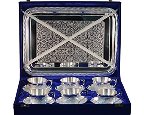 Cultural Hub® Indian Royal Cup Plate Set Brass Silver Plated with Hand Engraved Tray Set of 13 Pc in Blue Velvet Box JK-3875-652