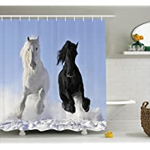 Horses Shower Curtain Set Animal Decor by Ambesonne, Competing Racing Black and White Horses on the Snow Good and Evil Mythical Symbolic Creatures, Fabric Bathroom Accessories, With Hooks, Blue