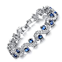Starista Platinum Plated Blue Cubic Zirconia Bangle Bracelet for Women Luxury Wedding Accessory