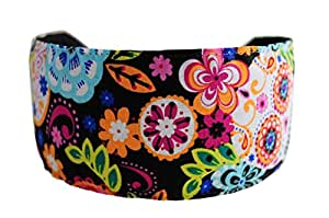 Day of the Dead Headband Multicolor Sugar Skulls and Flowers Over Black Headwrap