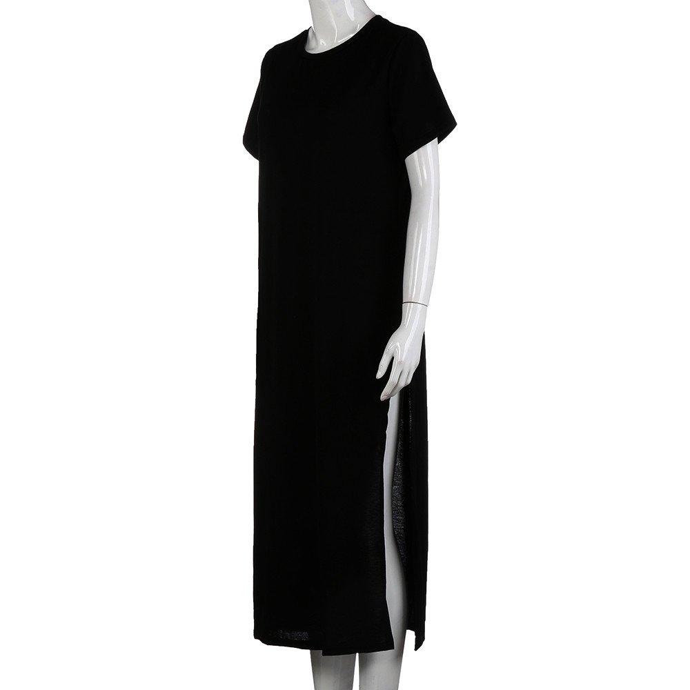 MERICAL Vestido de Mangas Cortas Negro Sexy Lado Alta Raja Negro ...
