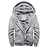QingFan-Men Cloth Mens Hoodie Winter Warm Fleece Zipper Sweater Jacket Outwear Coat (Gray, M)