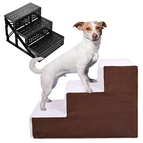 (Dog Pet Stairs Cat Steps Indoor Ramp Portable Folding Animal Ladder with Cover)