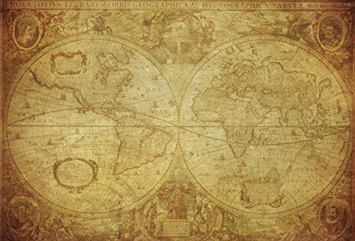 Cheap  Vintage Map World 1630 Wall Mural by Wallmonkeys Peel and Stick Graphic..