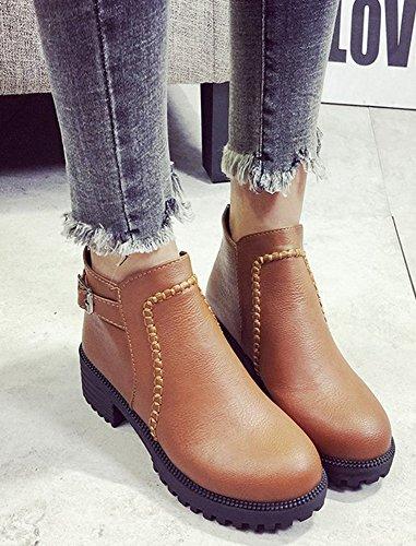 Aisun Yellow Slip On Round Women's Chic Boots Toe Short 68prqZ6xAw