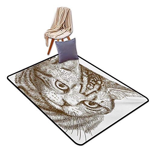 Cat Household Bathroom Door mat Portrait of a Kitty Domestic Animal Hipster Best Company Fluffy Pet Graphic Art Water Absorption, Anti-Skid and Oil Proof 48
