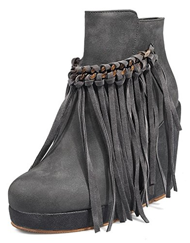 Women's Aisun Booties With Boots Ankle Up Wedge Tasseled Dressy Gray High Heel Platform Round Inside Fringe Zip Toe HpxnHrW1