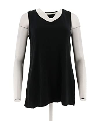 d794a87f6d8 Isaac Mizrahi Essentials V-Neck Tunic Tank Top A306536 at Amazon ...