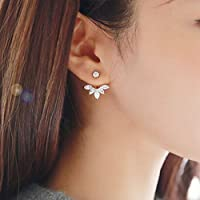 MAIDIEN Daisy Diamond Hoop Stud Earring Flowers Earrings for Women Girls
