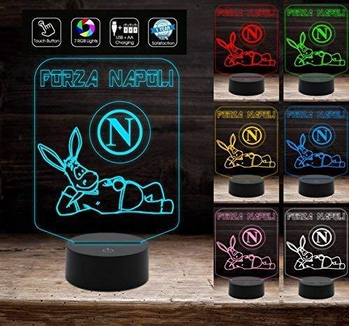 Lampada led Personalizzabile 7 colori FORZA NAPOLI Idea regalo Gadget CALCIO compleanno da tavolo 7 colori a led per bambino da scrivania Luce notturna Decorazione della casa