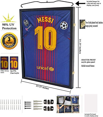 Jersey Display Frame Case Large Frames Shadow Box Lockable with UV Protection for Baseball Basketball Football Soccer…