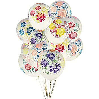 KUMEED 12 Clear Flowers Latex Balloons Birthday Party Holiday Wedding Decorations