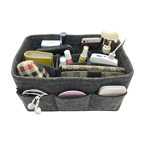 Price comparison product image APSOONSELL Lightweight Felt Handbag Organiser for Women, Tidy Bag Storage Organizers Accessories - Grey M