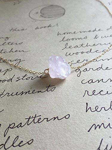 """Raw Rose Quartz Crystal Necklace 16"""" Dainty14K Gold Filled Healing Jewelry Gift Ideas for Her 1cm stone"""