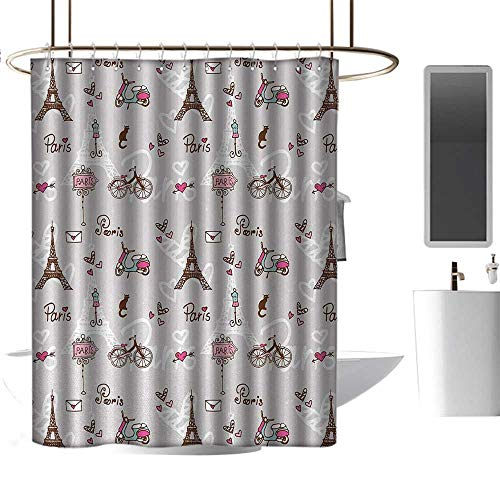 Qenuan Extra Long Shower Curtain Paris,Pattern with Vespa Bikes Mannequin Eiffel Tower Hearts Doodle Style Design,Brown Baby Blue Pink,Machine Washable - Shower Hooks are Included 47