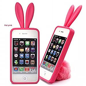 100Pcs/Lot DHL Cute Bunny Rabito TPU Skin Case Cover For iPhone 4 S 4G 4S Lovely Rabbit with Tail cases for iphone4 High Quality --- Color:Pink