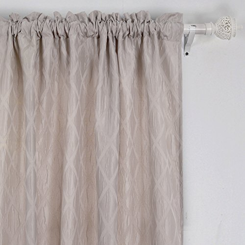 Deconovo RodPocketCurtains RoomCurtains Meridian Pattern ThermalInsulatedCurtains for Sliding Glass Door 52 x 84 Inch Taupe 2 - Panel Glass Pattern