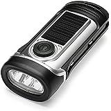ThorFire LED懐中電灯 手回し充電 ソーラー充電 電池不要 IPX6防水 軽量 コンパクト 防災グッズ 避難セット 緊急停電対策