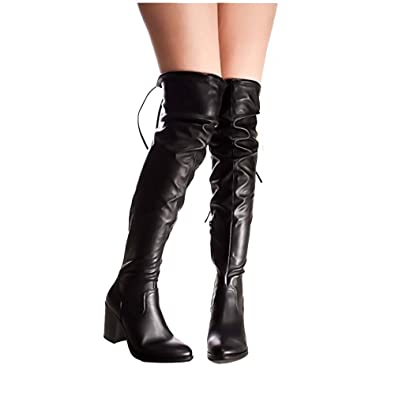 ForeverLink Women's Faux Leather Lycra Chunky Heel Over Knee High Heel Boots